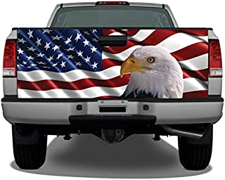 American Flag Bald Eagle #2 Truck Tailgate Wrap Vinyl Graphic Decal