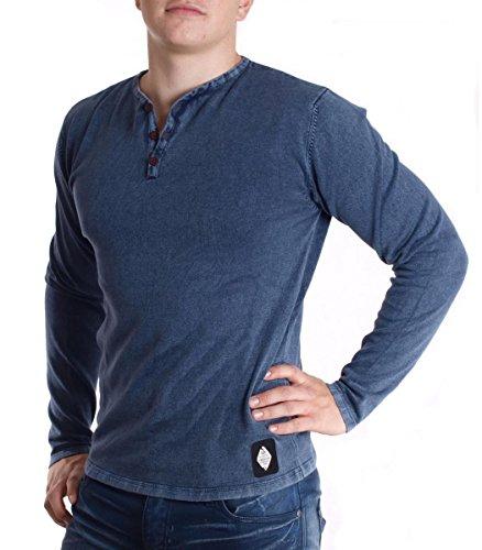 Hailys Baumwolle Strickpullover Sweatshirt Pullover Troyer für Herren in Blau, Größe:L