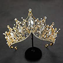 Baroque Queen Crown, Rhinestone Wedding Tiaras and Crown for Bride Handmade Crystal Headband Tiara for Women and Girls – Wedding Halloween Faire Costume Birthday Music Festival Hair Accessories (Gold)