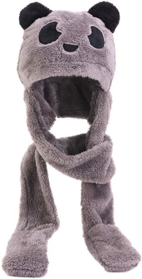 Tebatu Sacrf Set,Toddler Kid Winter Cute Animal Panda Bear Pompom Ear 3 in 1 Scarf Hat Gloves Set