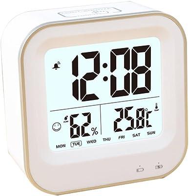 DXNSPF LED Digital Alarma despertador Reloj Repeticion activada por luz Snooze Sensor de luz Tiempo Fecha