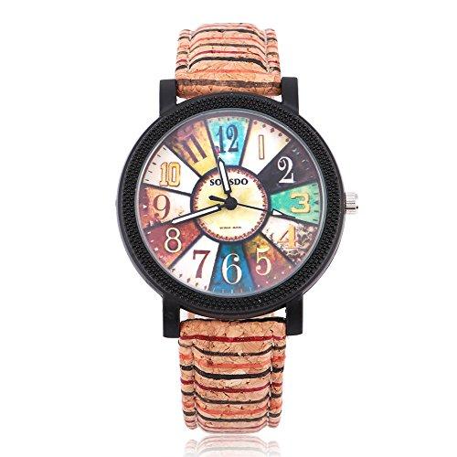 Armbanduhr, frische & natürliche Uhr mit Holzstruktur PU Armband analoge Quarz-Armbanduhr für Unisex(Compass Dial)