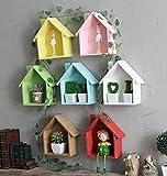 Jellbaby Creativa casa pequeña multipropósito multi - estante de plantas de carne decorativo marco colgante de madera * 1 pieza (verde)