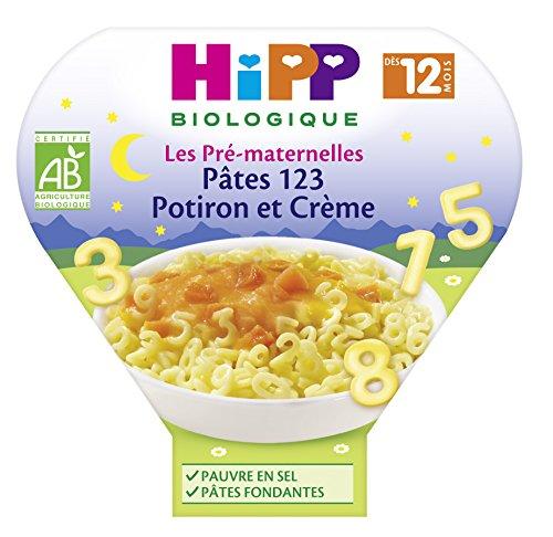 Hipp Biologique Les Pré-Maternelles Pâtes 123 Potiron et Crème dès 12 Mois - 6 assiettes de 230 g