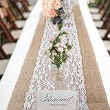 78henstridge chemin de table en toile de jute avec dentelle, ruban de jute naturel, décoration de