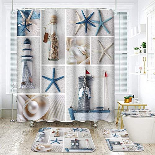 ArtSocket 4 Pcs Shower Curtain Set Collage Summer sea Shell Beach Lighthouse Pearl Sand Seashell Bottle Blue White Ocean with Non-Slip Rugs Toilet Lid Cover and Bath Mat Bathroom Decor Set 72' x 72'