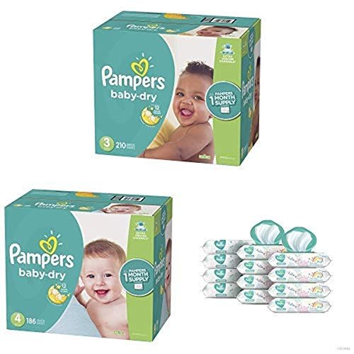 Pampers Bundle - Baby Dry Disposable Baby Diapers Sizes 3, 210 Count & 4, 186 Count with Pampers Sensitive Water-Based Baby Wipes, 12 Pop-Top and Refill Combo Packs, 864 Count