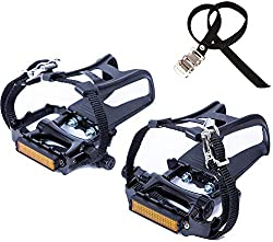 Pedals Clips Straps Premium Quality Bicycle Pedals with Toe Clips and Straps RD