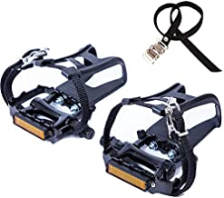 YBEKI Bike Pedals with Clips and Straps, for Exercise Bike, Spin Bike and Outdoor Bicycles, 9/16-Inch Spindle Resin/Alloy Bicycle Pedals, Half Year Warranty (Black)
