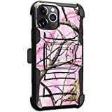 MINITURTLE Compatible with Apple iPhone 11 PRO MAX (6.5) Hard Shell Cover Hybrid Case Kickstand with Holster Clip [Clip Armor] - Pink Tree Camo