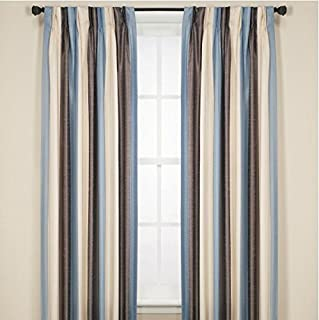 Brielle Lafayette Faux Dupioni Silk Rod Loop Back Tab Panel, Lined, Insulated, Room Darkening, Pinch Pleat Finish, 84
