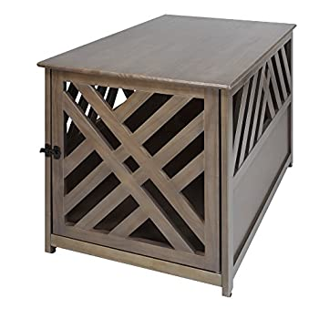 Casual Home Wooden Lattice Pet Crate End Table Taupe Gray