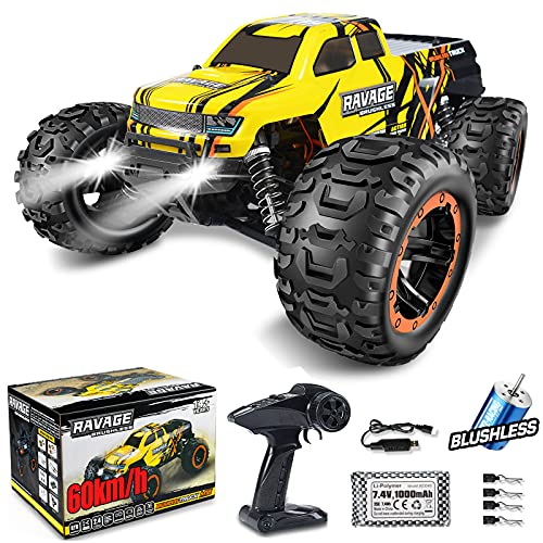 NUOKE Brushless RC Cars 1:16 Scale RTR 60km/h Remote Control Truck High Speed 4WD 2.4Ghz Waterproof Monster Truck Offroad Gift for Boys Car for Kids and Adults