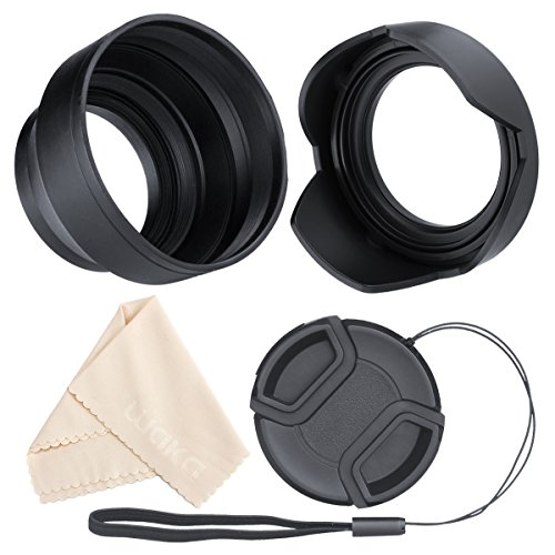 waka 55mm Lens Hood Set, Reversible Tulip Flower + 3 Stages Collapsible Rubber Lens Hood + Center Pinch Lens Cap with Cap Keeper Leash + Microfiber Cleaning Cloth