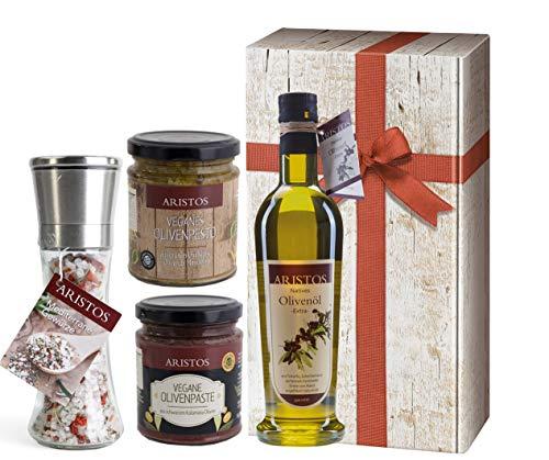 4 tlg Griechisches Olivenöl Geschenk-Set Weihnachten | Öl, Meersalz, Tapenade (Olivenpaste), Olivenpesto | in Geschenkkarton mit Holzoptik und Schlaufe | by ARISTOS (Öl-Salz-Pesto-Paste)