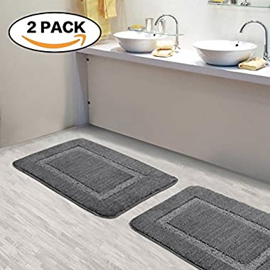 Flamingo P 2 Piece Super Soft grey bath mats for bathroom Plush & Absorbent, Hand Tufted Heavy Weight Construction Bathroom Rugs Non Slip TPR Rubber Bath Mat for Kitchen Bedroom, 17 x 24 , Gray