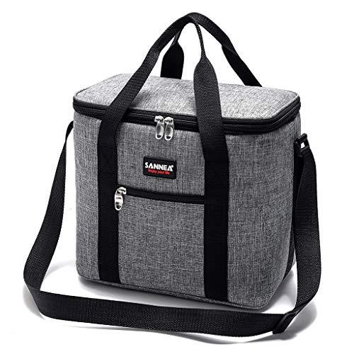 Ekrfxh Bolsa de almuerzo grande con correa para el hombro, multifunción para picnic, playa, camping, aislamiento, bolsa de hombro, gris, L