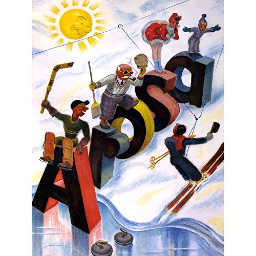 Wee Blue Coo Travel Sport Tourism Arosa Switzerland Alpine Ski Skiing Skier Art Print Poster Wall Decor 12X16 Inch