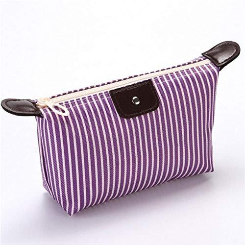 HAILI Maquillage Sac Unisexe Rayé Oxford Cosmétique Sac Doux Ronde Portable Version Coréenne Maquillage Sac Zipper Sacs De Voyage, Violet