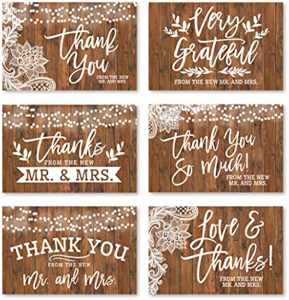 24 Rustic Wedding Thank You Cards With Envelopes Elegant Bridal Shower Thank You Note From The product image