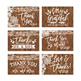 24 Rustic Wedding Thank You Cards With Envelopes, Elegant Bridal Shower Thank You Note From The New Mr. & Mrs. Newlywed Faux Wood Gratitude Supplies, 4x6 Personalized Bulk So Grateful Stationery