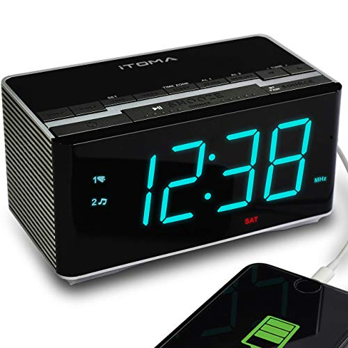 iTOMA Electronic Alarm Clock Radio-Bluetooth Stereo Speakers,FM Radio,Dual Alarm,Snooze,Brightness Dimmer,USB Charging Port,Backup Battery(CKS3501BT)