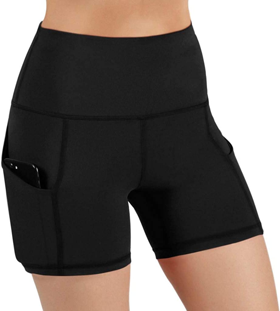 SUNTIN 2021 Lady Solid Pocket High-Waist Hip Stretch Underpants Running Fitness Yoga Shorts