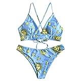Zaful - Set di bikini a triangolo da donna, costume da bagno imbottito, sgambato, con stampa con stella, sole, luna Blu 2. L