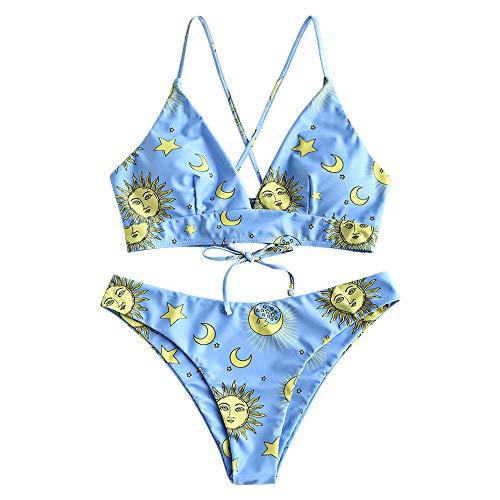 ZAFUL Damen Zweiteiliger Dreieck-Bikini Set, gepolsterter hoch Geschnittener Badeanzug mit Stern/Sonne/Mond Aufdruck (Blau 2, L (EU 40))