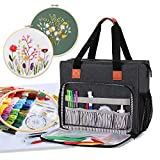 Luxja Embroidery Project Carrying Bag, Embroidery Kits Storage Bag (Bag Only), Black