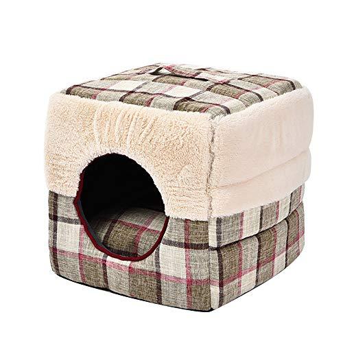 MiaoMiao Indoor Huisdier Hond/Huis Bed Plaid Vierkant Huis Huisdier Nest Kussen Bank Verschillende Vormen Zachte Warm Huisdier Matten, beigeS