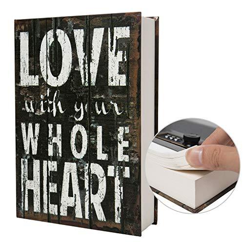 Echtes Papiertransferbuch sicher für Schmuck, Geld und Bargeld, hohl mit verstecktem Fach, Schlüssel und Zahlenschloss (Passwortsperre, Liebe)