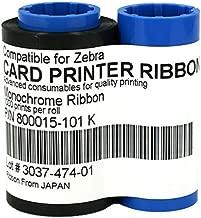800015-101 Black Monochrome Ribbon for Zebra P330i P420i P430i Card Printers, 1000 Prints