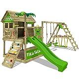 FATMOOSE Spielturm TikaTaka Town XXL Kletterturm mit Surf-Anbau, Rutsche und viel Spiel-Zubehör,...