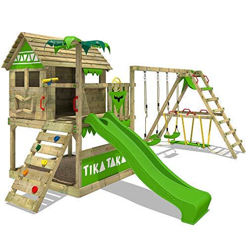 FATMOOSE Parque infantil de madera TikaTaka Town XXL con columpio SurfSwing y tobogán, Casa de juegos de jardín con arenero y escalera para niños