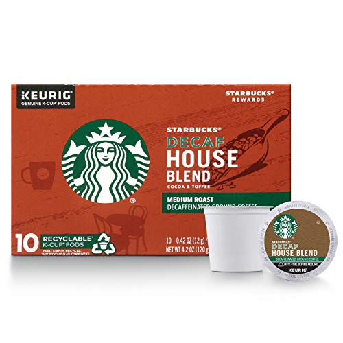 Starbucks Decaf K-Cup Coffee Pods — House Blend for Keurig Brewers — 1 box (10 pods)