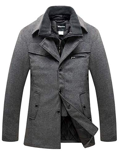 Wantdo Men's Removable Rib Collar Wool Coat Small Dark Grey