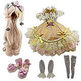 EVA BJD Dolls' Gonna Parrucca Scarpe Accessori Calze Insieme Completo per Il 20-23inch 1/3 60 Centimetri BJD Doll (Carrena)