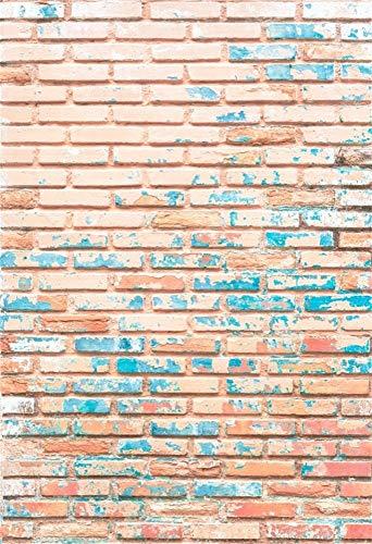 vrupi 5x7ft Vinyl Fotografie Hintergrund Backsteinmauer Textur Vintage Tapete Pastell Pink Blau Schmutzige Backsteinmauer Peeling Pflaster Neugeborene Baby Erwachsene Porträt Photo Studio Prop