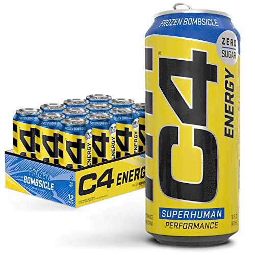 Cellucor C4 Original Carbonated Zero Sugar Energy Drink, Pre Workout Drink + Beta Alanine, Sparkling Frozen Bombsicle, 16 Fl. Oz (Pack of 12)