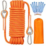 Meieke Outdoor Climbing Rope, 10MM Diameter Static Rock Climbing Rope, Escape Rope, Tree Climbing Rappelling Rope, Fire Rescue Parachute Rope, with Safety Working Gloves, (32ft) (64ft) (Orange-32ft)