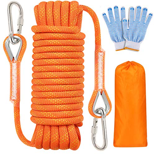 Meieke Outdoor Climbing Rope 10MM Diameter Static Rock Climbing Rope Escape Rope Tree Climbing Rappelling Rope Fire Rescue Parachute Rope with Safety Working Gloves 32ft 64ft Orange32ft