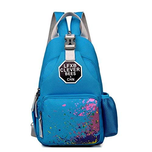 Sac bandoulière Pack extérieur multifonctions sac à dos récréatif portatif sac de toile Pack pour randonnée pédestre alpinisme voyage 2 couleurs H36 x W22 x T6 CM , blue