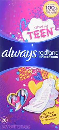 Always Radiant Teen Pads Regular Absorbency & Unscented - 28ct