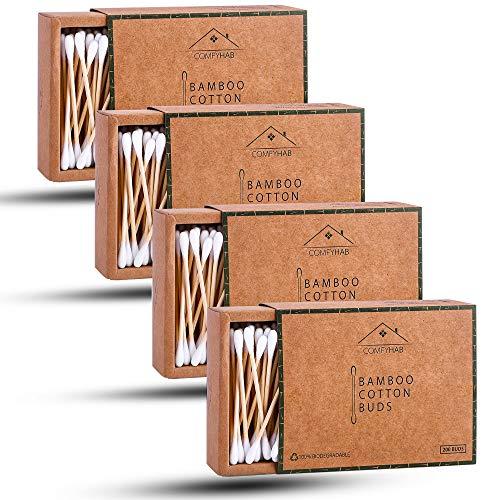 ComfyHab 800 Stäbchen Bambus Wattestäbchen, 4 Packungen je 200 Stück Wattestäbchen aus Baumwolle, Zero Waste Wood Q Tips aus Biowolle, recycelbar, vegan, plastikfreie Tupfer