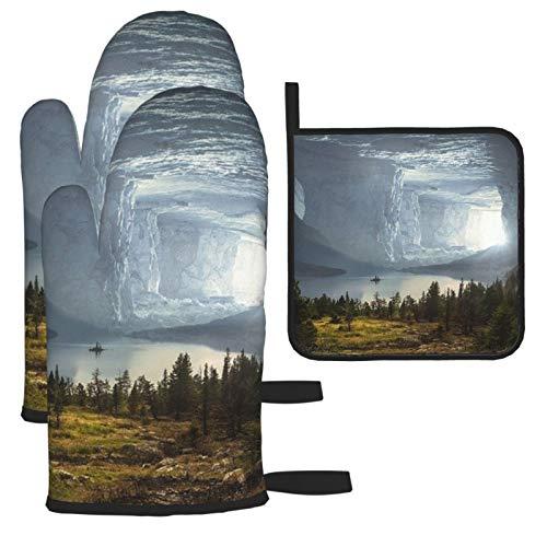 Vilico Fantasy Cave Mystical Rock Stone Manoplas de horno y soporte para ollas, guantes de cocina para microondas, esenciales para el hogar, resistentes al calor para hornear, 3 piezas