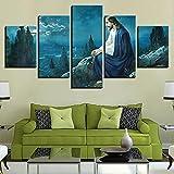 RYTR Lienzo Impresiones en HD decoración del hogar/Jesús orando de Noche /5 Piezas Arte Cuadros modulares para Sala de Estar Dormitorio póster artístico