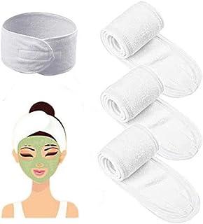3Pc Facial Spa Yoga Sport Headband Makeup Head Wrap for Face Washing Mask Hair Band(White)