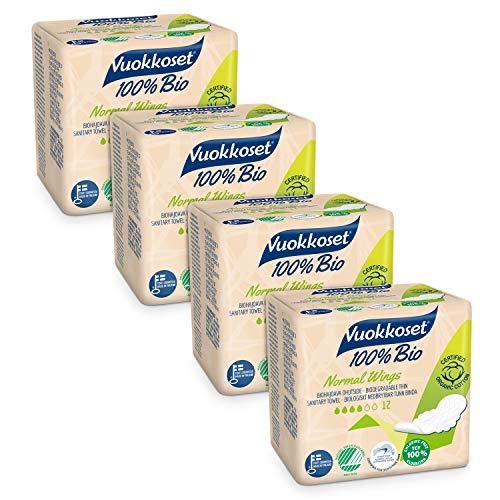 Serviettes hygiéniques Vuokkoset 100% bio et organiques, taille normale avec ailettes, biodégradables et en coton organique - lot de serviettes hygiéniques 4x12 pièces