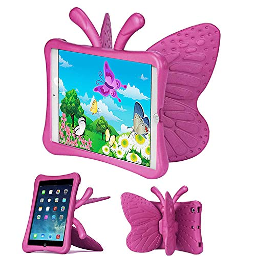 Tading Funda para iPad Mini 4 3 2 para los niños, Shock Proof Material EVA Lightweight Kids Protector Cover con pie de Apoyo para Apple iPad Mini 3 / Mini 2 / Mini 7.9 Pulgadas Tableta, Rosa Caliente